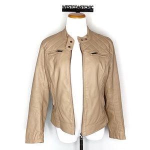Cavalini Faux Leather Tan Moto Jacket Size Large